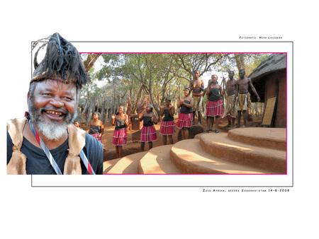 Shagaan-stam - Tijdens onze 21 daagse rondreis in Zuid Afrika hebben wij een paar keer een lokale stam bezocht. Zo ook de Shagaanstam. Voordat wij de Kraal binnen m - foto door Henk Laverman op 02-05-2009 - deze foto bevat: safari, zuid, afrika, kraal, stamhoofd, shangaanstam, soshangana