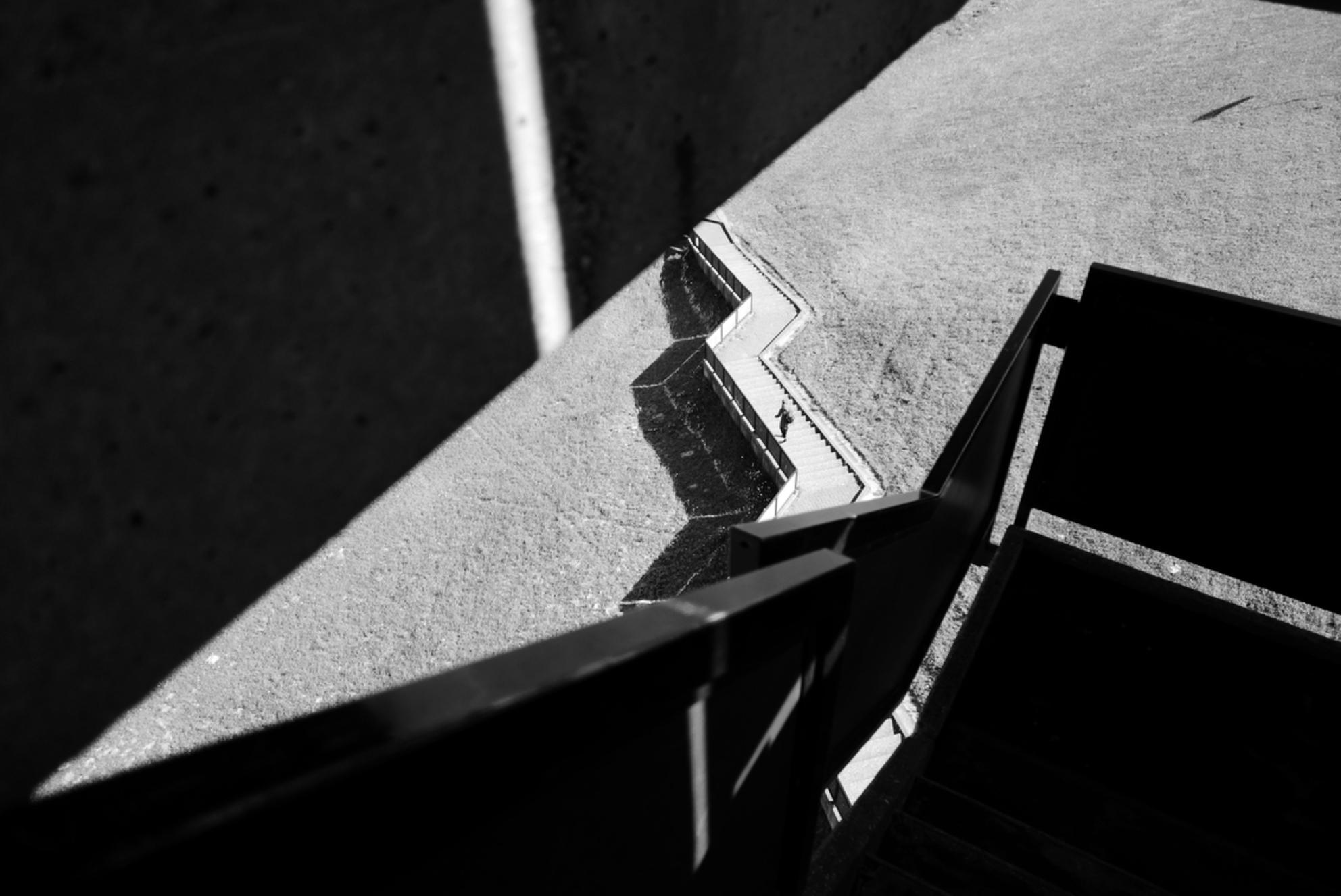 Volg het pad... - Krammersluizen - Genomen vanaf de uitkijktoren die aan de Krammersluizen (Zeeland) staan. - foto door Krulkoos op 18-05-2020 - deze foto bevat: trap, abstract, tower, lijnen, architectuur, pad, silhouette, zeeland, perspectief, driehoek, trappen, zwartwit, wandelen, scherp, wandelpad, stairs, uitkijktoren, walking, triangle, monochroom, architecture, monochrome, wandelaar, blackandwhite, zwartenwit, path, leica, silhouettes, staircase, vanboven, krammersluizen, architectural, zwartwitfotografie, krammer, Black and white, maurice weststrate, lx100, thisiszeeland, from above - Deze foto mag gebruikt worden in een Zoom.nl publicatie