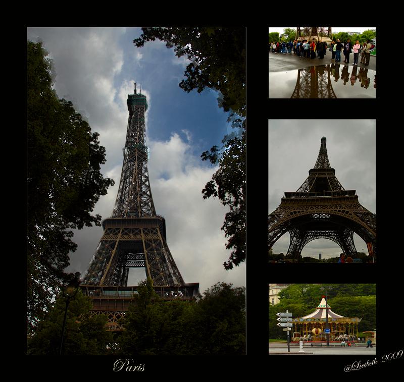 Paris 2 - De Eifeltoren , het meest gefotografeerd opject in Parijs, Het ene moment waren er wolken en blauwe lucht en 10 min. later trok de lucht helemaal di - foto door Liesbeth1 op 17-05-2009 - deze foto bevat: paris, eifeltoren, liesbeth1