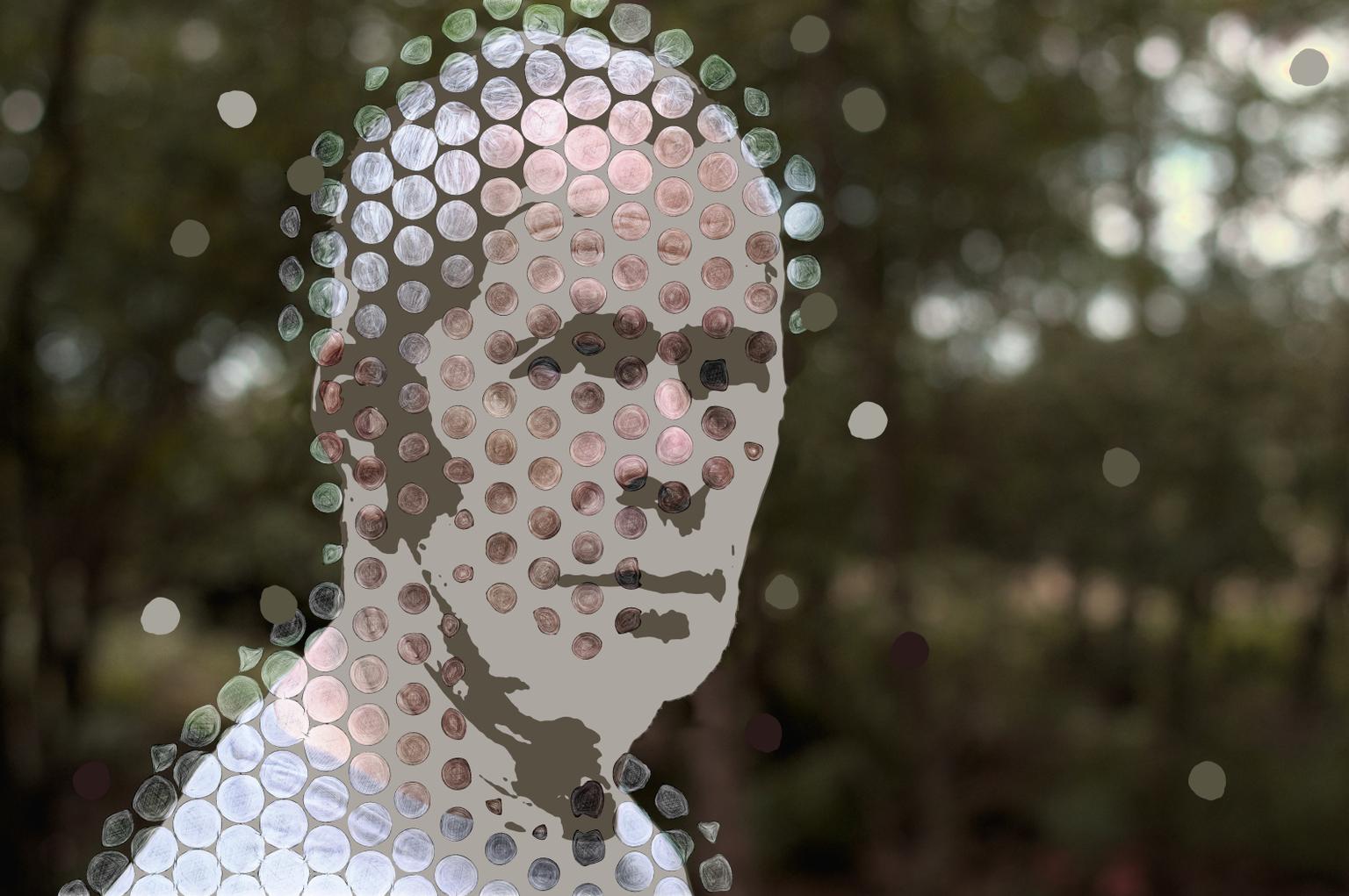 Ral7013 - Digital mixed media portret  https://www.werkaandemuur.nl/index/shop/nl/True-Color-Stories/shop/27967 - foto door miriamduda op 11-04-2021 - deze foto bevat: hoofd, oog, organisme, kunst, wimper, patroon, evenement, brillen, detailopname, modeaccessoire