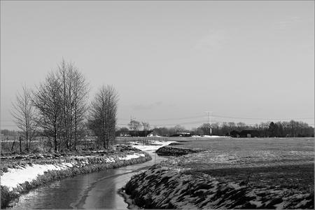 Slingerend door het Landschap - Winterse dag in Drenthe 1 jan. 2011 gemaakt tijdens een wandeling. - foto door Mr-BBQ op 25-04-2021 - locatie: Nabij Holsloot - deze foto bevat: lucht, fabriek, water, natuurlijk landschap, boom, afdeling, zwart en wit, lichaam van water, stijl, atmosferisch fenomeen