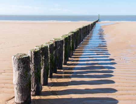 Dubbel ritme - Ritme van golfbrekers en hun schaduw op het strand in Zeeland. - foto door yolandademaar op 11-04-2021 - locatie: 4506 Cadzand, Nederland - deze foto bevat: ritme, golfbrekers, schaduw, strand, zee, water, lucht, fabriek, azuur, natuurlijke omgeving, hout, strand, gras, kust- en oceanische landvormen, biome