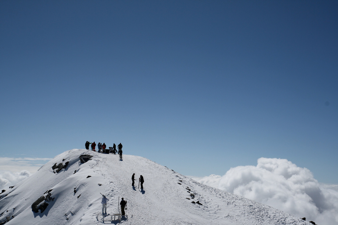 Hoogtepunt - Bergtop in skigebied Val Thorens. Het uitzicht gaf een magisch zweverig gevoel. - foto door haikodejong op 03-08-2010 - deze foto bevat: Berg wintersport