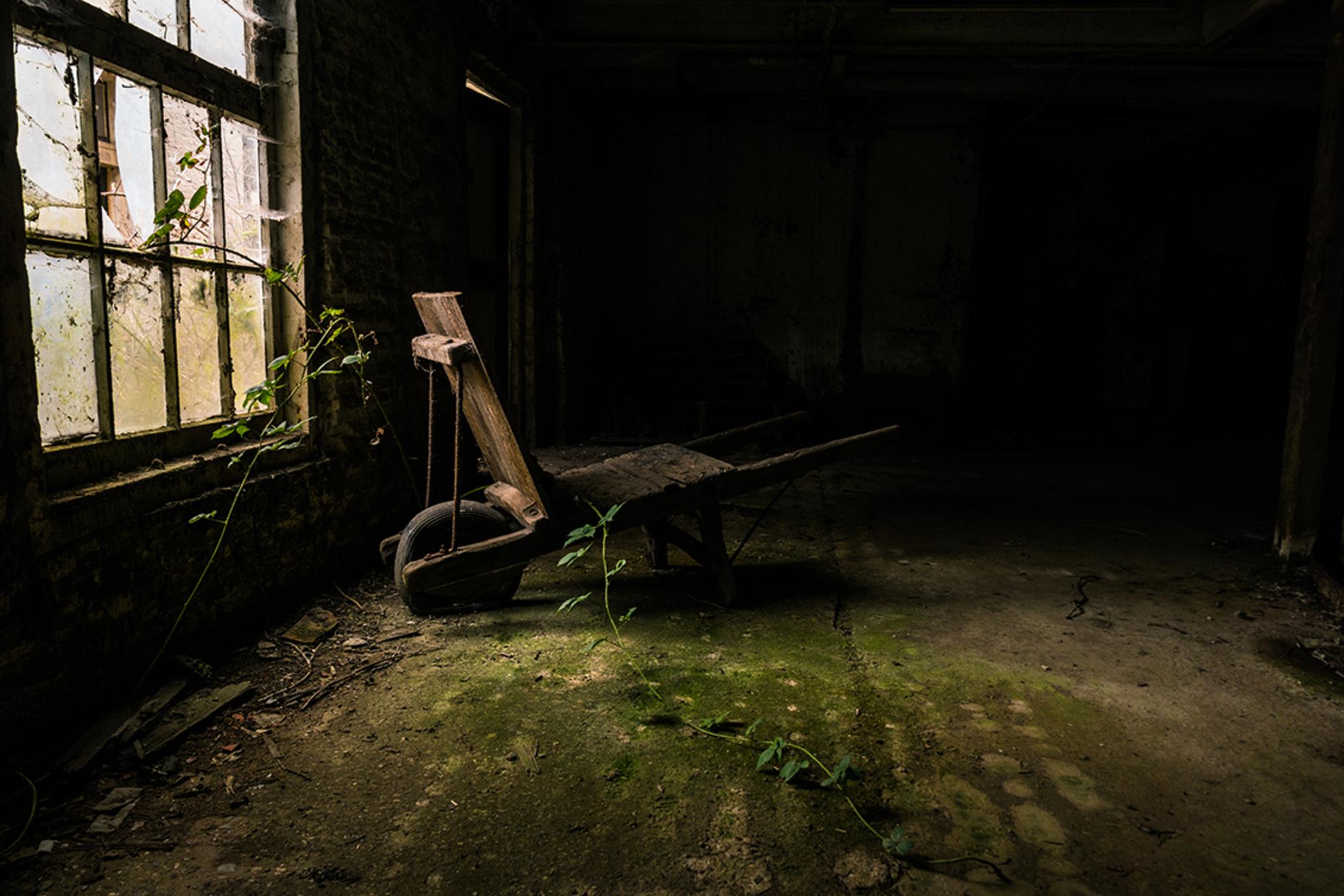 Waakzaam en Dienstbaar - Een kruiwagen in een verlaten fabriek. De zelfde fabriek als de vorige foto. Het licht was ongelofelijk! De wolken die de zonsverduistering voor heel - foto door Sake-van-Pelt op 20-03-2015 - deze foto bevat: oud, zon, glas, licht, mos, lijnen, architectuur, gebouw, ruiten, verlaten, luik, gebroken, vervallen, gat, kapot, ruit, braam, urbex, alg, kruiwagen, begroeid, urban exploring, lange sluitertijd - Deze foto mag gebruikt worden in een Zoom.nl publicatie