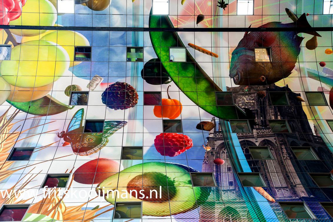 Markthal Rotterdam - 201506147998 Markthal Rotterdam - foto door fritskooijmans op 10-07-2015 - deze foto bevat: rotterdam, gebouw, plafond, markthal, 2015