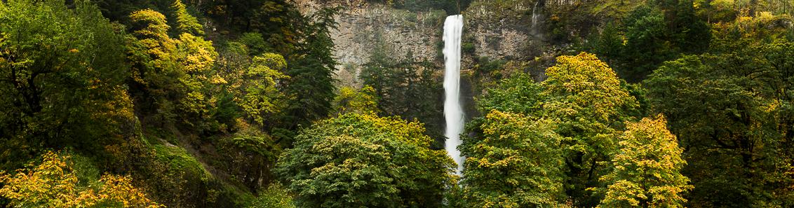 Multnomah Panorama - De bekende Multnomah watervall in de Columbia Gorge in Oregon , USA. Panorama van 11 foto's. Canon 5DS R met Canon 70-200mm F/2.8 (78mm), ISO 100, 1 - foto door fotoscape op 20-12-2016 - deze foto bevat: panorama, natuur, licht, herfst, bomen, canon 5ds r