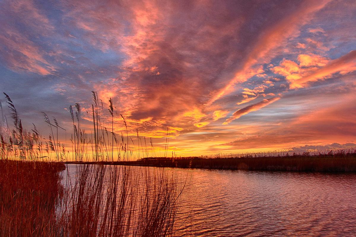 De Donk - Het blauwe uurtje. De avond zon is net ondergegaan. De avond valt op de Donkse Laagten.  HDR opname. Bestaat uit 5 opnamen. - foto door TourDeFrans op 08-04-2021 - locatie: 4702 CH De Donk, Nederland - deze foto bevat: ondergaande zon, boezem, blauwe uurtje, luchten, riet, wolken, wolk, water, lucht, atmosfeer, dag, ecoregio, nagloeien, natuur, natuurlijk landschap, afdeling