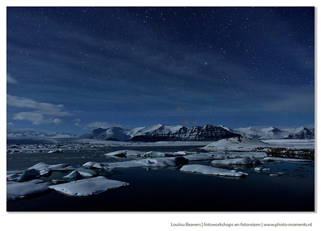 Starry night over Jokulsarlon