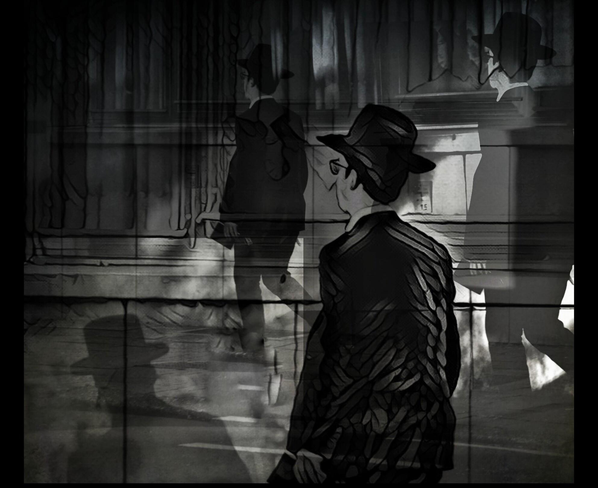 Altijd Haast . .  - Waarheen - foto door 1103 op 07-04-2021 - deze foto bevat: heeft, flitsfotografie, zwart en wit, stijl, fedora, zonnehoed, tinten en schakeringen, monochroom, duisternis, middernacht