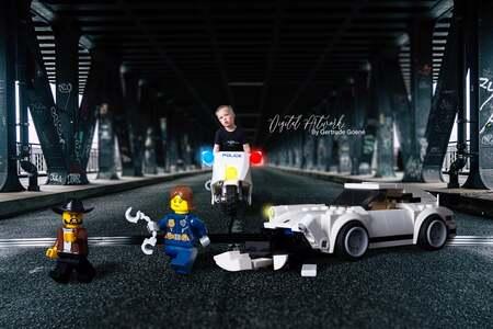Lego City Joyrider - Vandaag heeft Agent Aryen samen met een collega een Joyrider gearresteerd, na een korte achtervolging. Helaas is de Porche niet onbeschadigd uit dit  - foto door LegoUniverseAryen op 15-04-2021 - deze foto bevat: lego, bewerkt, compositie, manipulatie, band, voertuig, wiel, auto, autoband, motorvoertuig, automotive ontwerp, asfalt, automotive wielsysteem, rollen