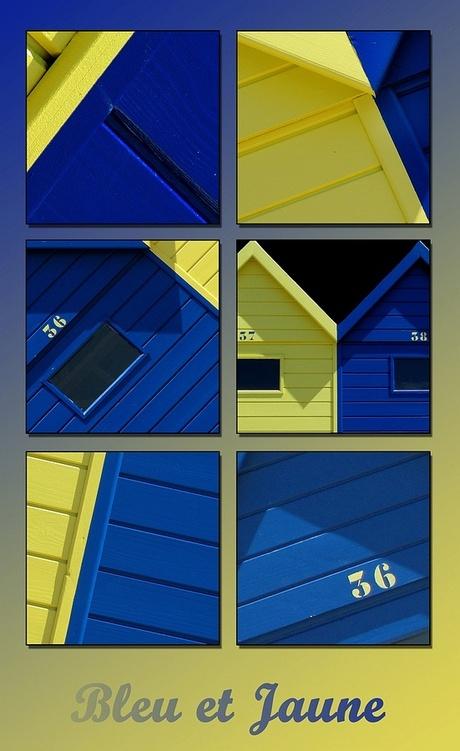 Bleu et jaune - collage strandhuisjes 2