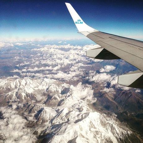 De Alpen vanuit het vliegtuig