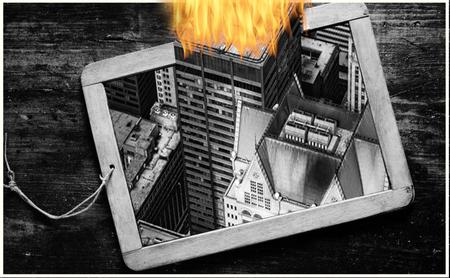 Gebouw in Brand - Gebouw in een lei geplaats, de top eruit laten steken en in brand gezet. - foto door paulagarmin op 05-03-2021 - deze foto bevat: kunst