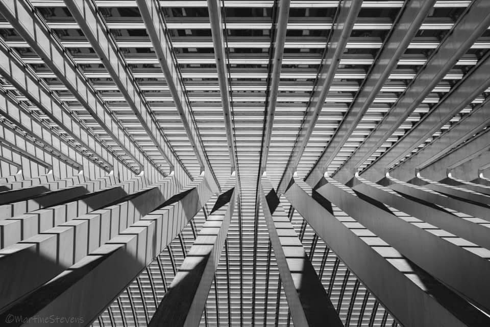 Lijnen en schaduwen - Mooi lijnenspel door zon en schaduwen en waarschijnlijk ben ik de zoveelste die deze foto zo heeft gemaakt - foto door MartineStevens op 13-01-2021 - deze foto bevat: station, abstract, licht, lijnen, architectuur, zwartwit, belgie