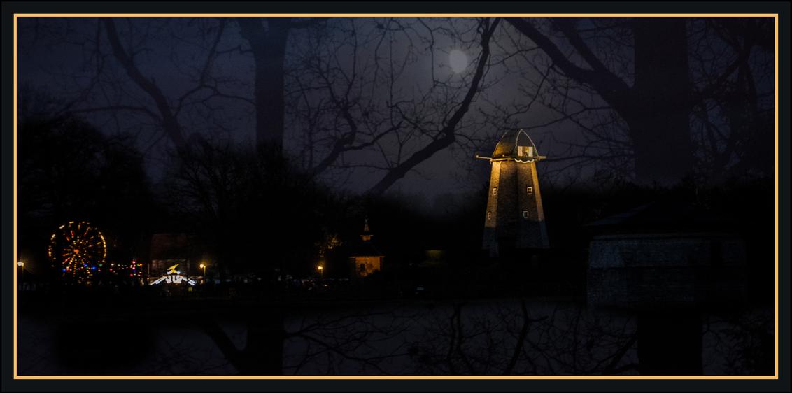 winteravonden Bokrijk - ik wens je een gelukkig, gezond en veel fotogenieke momenten voor 2018.. Mag het een mooi jaar worden..  dank jullie wel voor mooie reacties en fa - foto door oli_zoom op 31-12-2017 - deze foto bevat: fantasie, landschap, silhouet, collage, bewerking, sfeer, photoshop, creatief, double exposure