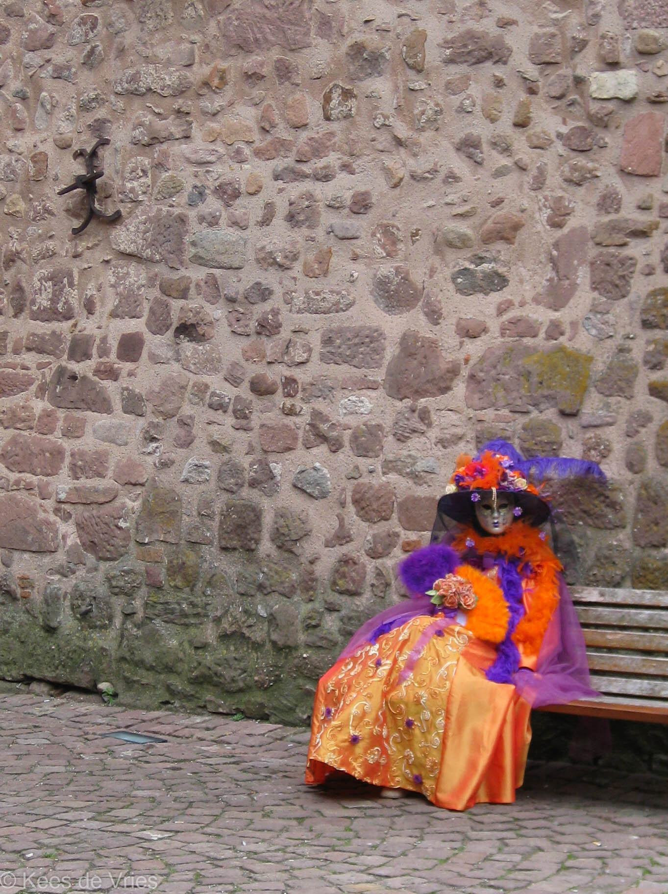 Elzas 2012 - Venetiaanse Parade in Riquewihr in de Elzas - foto door KdV59 op 05-05-2021 - locatie: 68340 Riquewihr, Frankrijk - deze foto bevat: muur, vloeren, steen, tinten en schakeringen, reizen, weg oppervlak, weg, landschap, straatmode, door