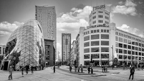 Centrum Eindhoven zwart wit