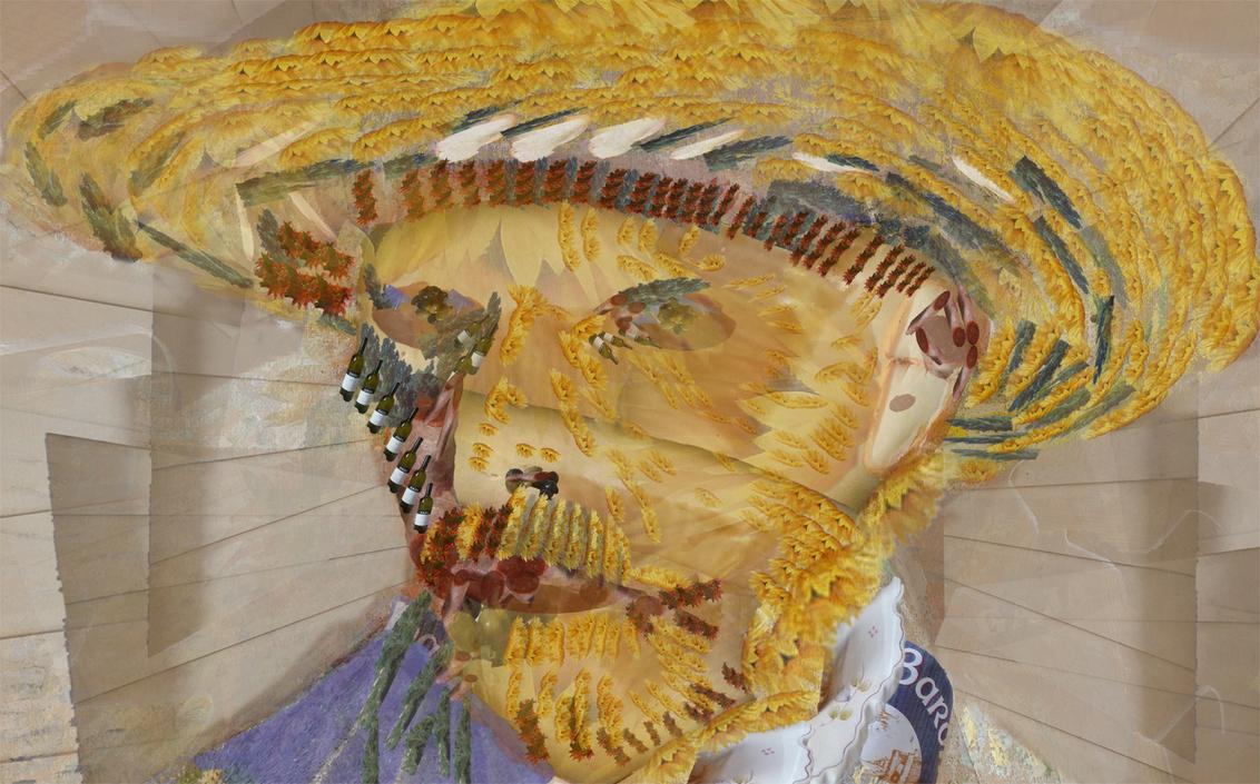 Mahlen nach Zahlen Vincent - Voortgeborduurd op het Vincentthema. Een collage met onderdelen uit de bronfoto. - foto door jopper op 03-11-2013 - deze foto bevat: eten, zonnebloem, schilderij, collage, gogh, bewerking, voedsel, vincent, bewerkingsuitdaging, jopper, BUwk44-45-2013