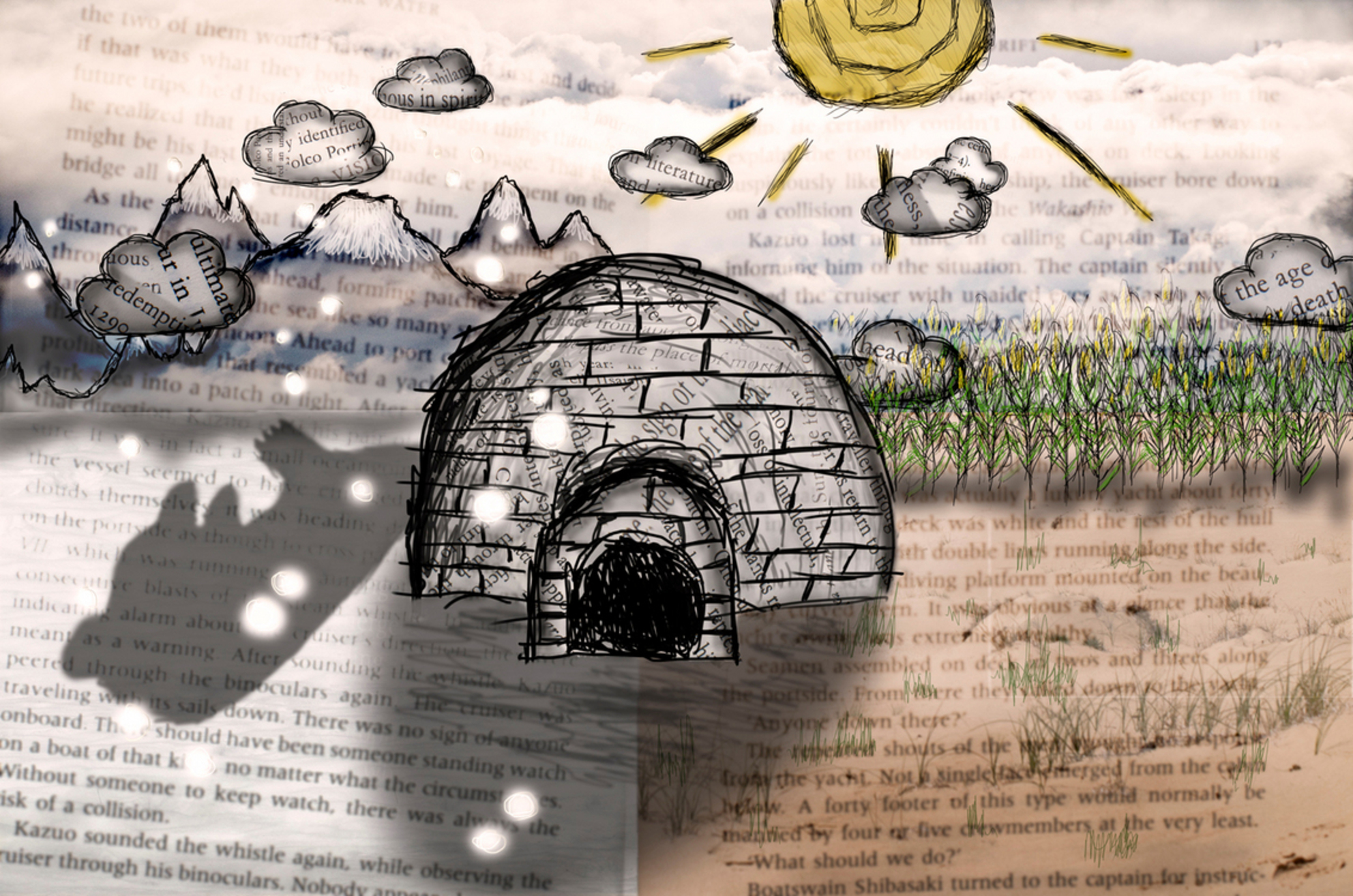 Iglo made of books - Neil Gaiman Calendar of tales Art - foto door truedee op 05-03-2013 - deze foto bevat: shadow, ice, sneeuw, winter, ijs, sun, art, letters, berg, son, rots, book, clouds, warm, summer, sky, snow, sunshine, sand, bear, sketch, words, field, juli, july, corn, pages, iglo, sneeuwvlok, cloud, grass, story, books, submission, contest, iceberg, icebear, snowflakes, neil, snowflake, draw, Gaiman, flake, sentence - Deze foto mag gebruikt worden in een Zoom.nl publicatie
