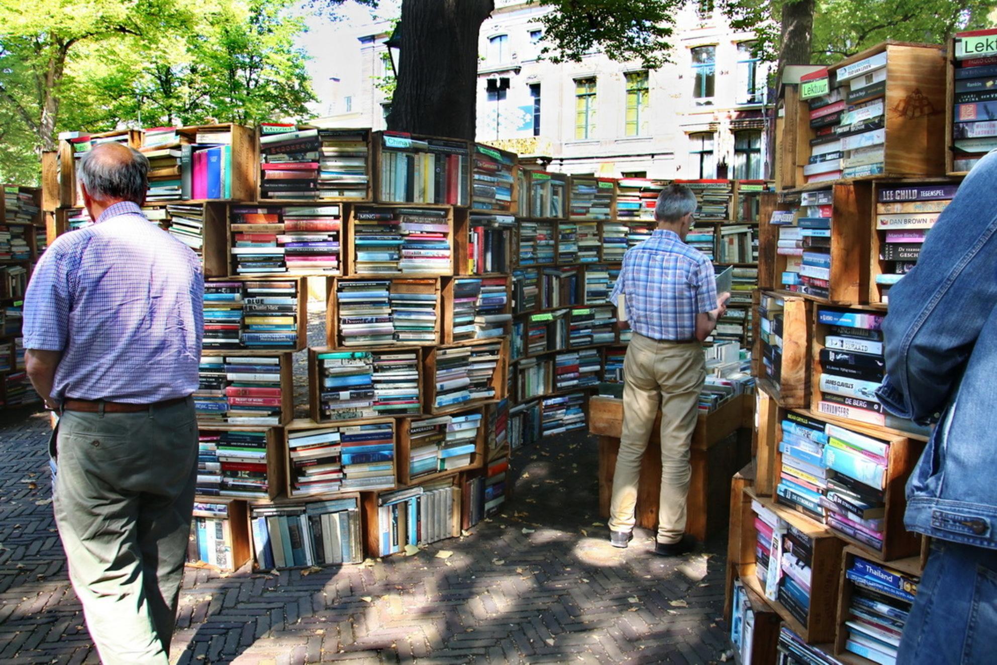 boeken -1- - boekenmarkt Den Haag - foto door fotohela op 26-08-2019 - deze foto bevat: man, mensen, kleur, straat, markt, stad, beweging, plein, straatfotografie, vrijmarkt, centrum, boekenmarkt, Den Haag, lange voorhout