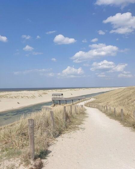 Idyllisch plaatje bij Schoorl aan zee - Mooi plaatje van de weg tussen Schoorl en Petten - foto door Travelling-elke op 02-03-2021 - deze foto bevat: lucht, wolken, zon, strand, zee, water, lente, natuur, licht, landschap, duinen, zand, kust