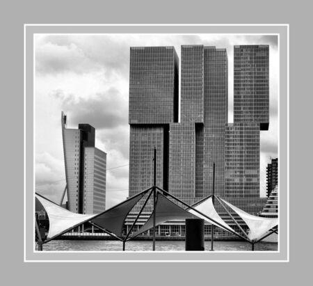 Rotterdam - - - foto door jelle13 op 17-02-2021 - deze foto bevat: bewerkt, silhouet, bewerking, zwartwit, contrast, tonemapping, paint shop pro