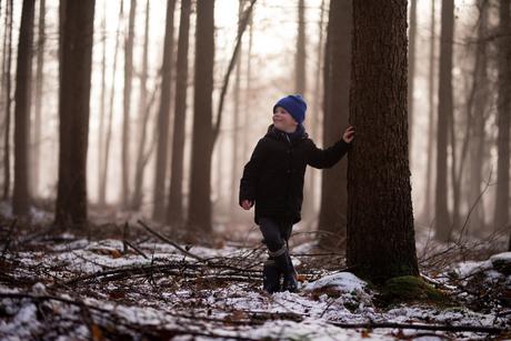 Restje sneeuw, mist en zon