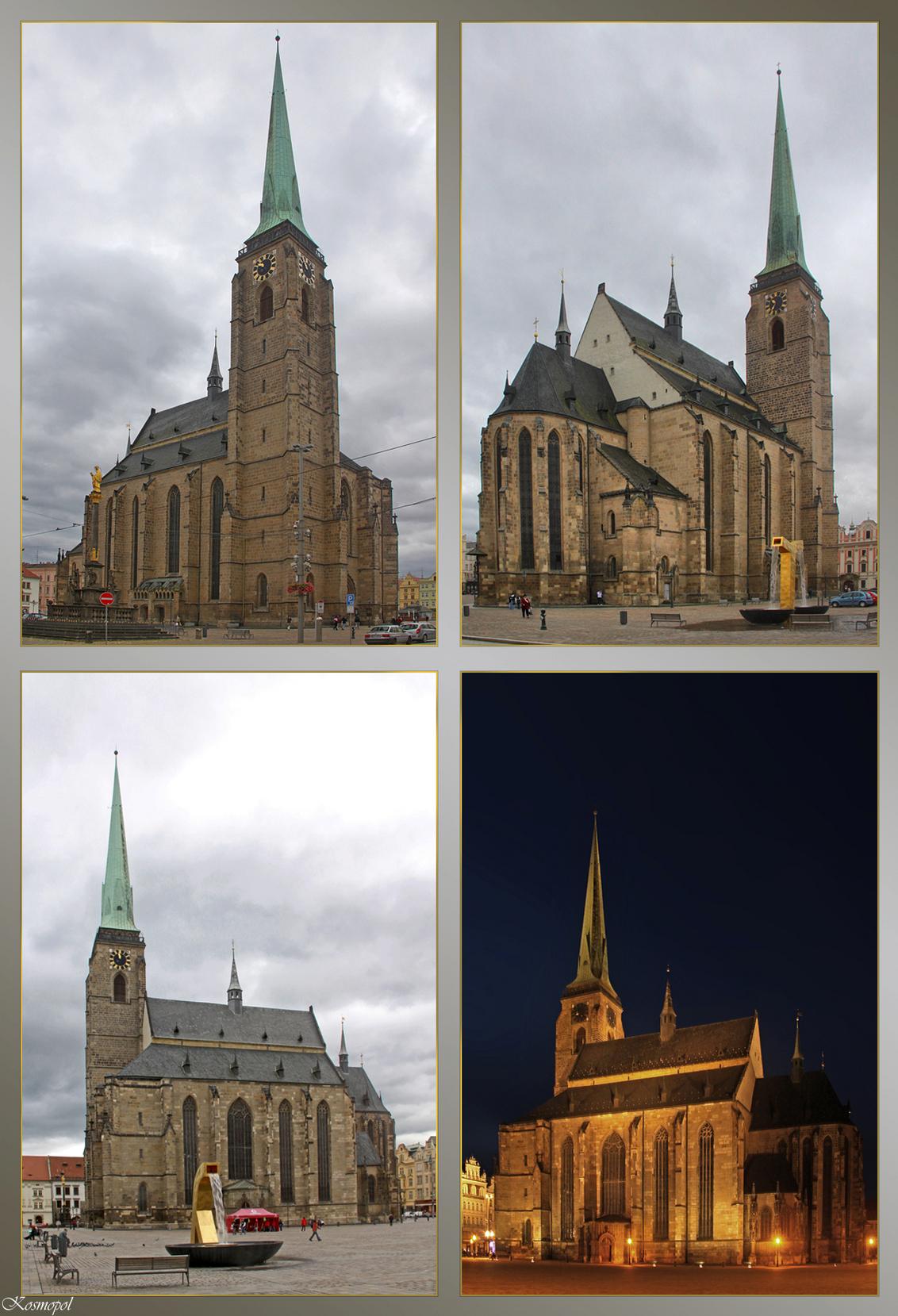 Plzen - De St. Bartholomeus-Kathedraal - Het marktplein in de stad Plzen ( Pilsen ) is werkelijk imposant. Niet helemaal in het centrum ervan, een beetje aan de noordkant is de prachtige St. - foto door kosmopol op 17-09-2011 - deze foto bevat: kathedraal, tsjechie, plzen, pilsen, kosmopol