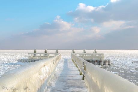 Bevroren IJsselmeer