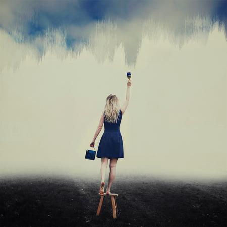 3/7 Blue Skies - 3/7 van de Zelfportret Challenge!  Ze kleurde haar eigen blauwe lucht, omdat de wereld het haar niet gaf  Check www.YouTube.com/LiekeAnna voor de - foto door liekeanna op 18-04-2018 - deze foto bevat: lucht, donker, zelfportret, video, conceptueel, challenge, fine art, lieke anna