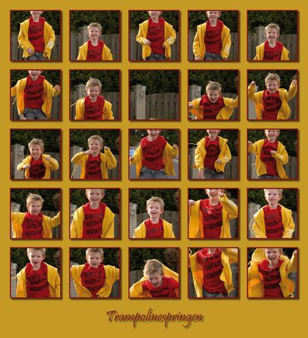 Trampoline - Mijn zoon Jochem vindt het heerlijk op de trampoline.  Ik heb er hier bewust voor gekozen de 'horizon' overal op gelijke hoogte te houden, zodat he - foto door jjmvandenbroek op 28-06-2007 - deze foto bevat: jochem, lachen, collage, zoon, springen, trampoline, janvandenbroek