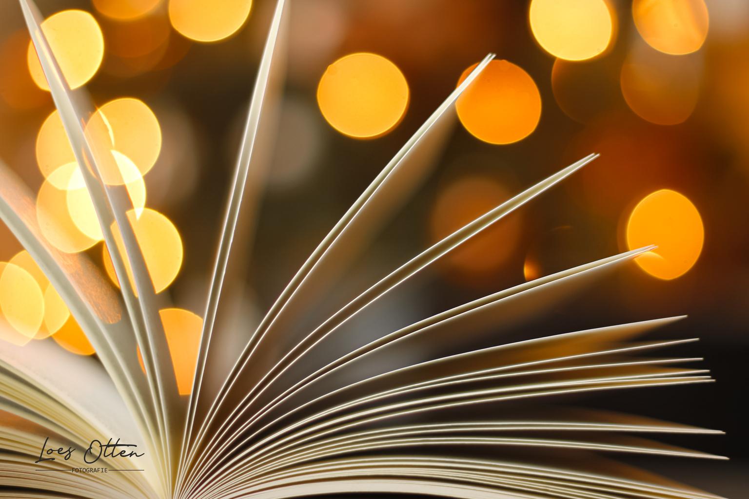 Open boek - Open boek met een beetje bokeh magie. - foto door LoesOtten op 11-04-2021 - locatie: Nederland - deze foto bevat: boek, bokeh, magisch, lichtjes, diafragma, open, school, lezen, onderwijs, bibliotheek, fabriek, licht, goud, oranje, amber, hout, boom, lijn, lettertype, materiële eigenschap