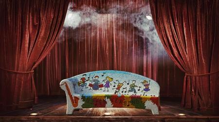 het nieuwe normaal.. - om het toch nog maar een beetje gezellig te maken.  - foto door Gooiseroos op 19-04-2021 - deze foto bevat: theater gordijn, decoratie, meubilair, stoel, gordijn, textiel, hout, interieur ontwerp, rood, vermaak