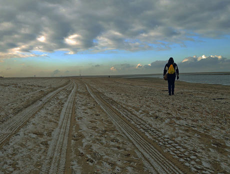 Ijskoude strandwandeling