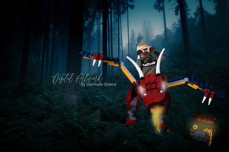 De schat bewaken met zn draak - Hier mocht Aryen zijn Favoriete drak helpen met beschermen van zijn schat. Zowel Aryen als de draak zijn gek op schatten en schatkisten.  - foto door LegoUniverseAryen op 16-04-2021 - deze foto bevat: lego, draak, boom, woud, fictief personage, duisternis, actie-avonturenspel, software voor videogames, grafische afbeeldingen, mensen in de natuur, screenshot, pc-spel