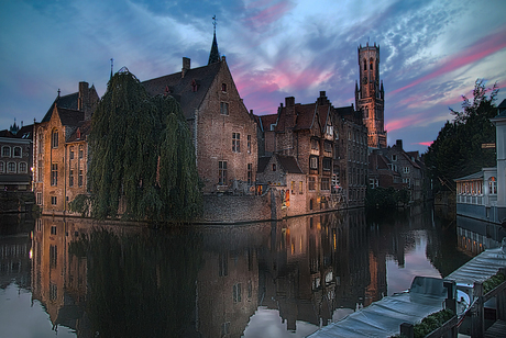 Dijver Brugge zonsondergang