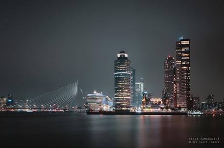 Erasmus bridge and skyline of Rotterdam