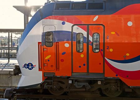 Oranje feesttrein - De kop van de ....... op het C.S. Utrecht - foto door nak-kos op 07-02-2014 - deze foto bevat: station, oranje, trein, utrecht, feest