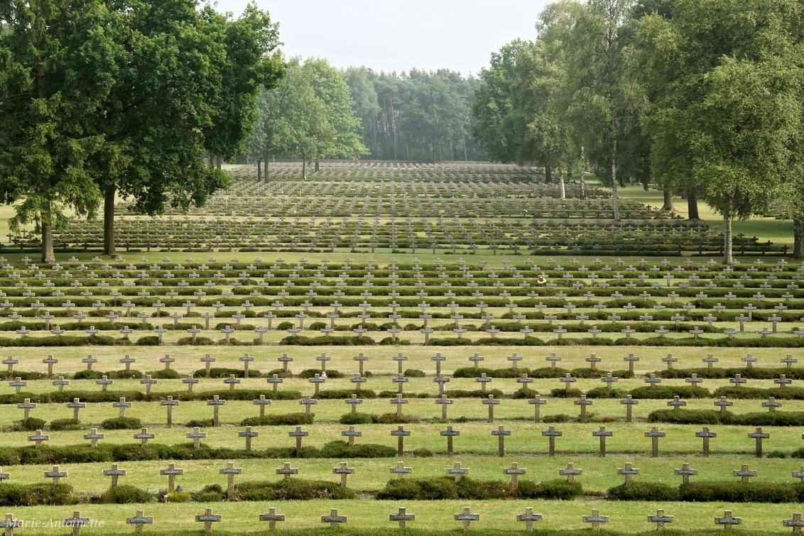 Duitse Militaire Begraafplaats Lommel - Gruwelijke plaats. Bijna 20.000 kruizen met op iedere kruis 2 namen. 39.102 Duitse doden. Hier gezien vanaf het monument, recht vooruit gezien, link - foto door Marie-Antoinette op 11-07-2014 - deze foto bevat: kerkhof, militair, duits, lommel