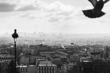 Heilige Geest - Uitzicht op Parijs vanaf de heuvel van Montmartre. Eén opname, bewerkt in Adobe Lightroom - foto door Jheronimus op 09-01-2017 - deze foto bevat: lucht, vakantie, frankrijk, architectuur, parijs, stad, zwartwit, montmartre, reisfotografie, europa