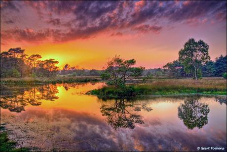 Steenhaarplassen, zonsondergang