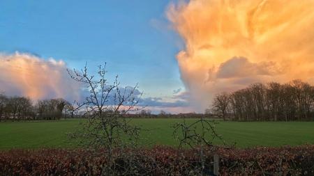 Lucht - De zon ging onder. Deze foto van de zon af in oostelijke richting gemaakt. Bijzondere lucht.  - foto door Jan3005 op 13-04-2021 - deze foto bevat: wolk, lucht, atmosfeer, fabriek, ecoregio, nagloeien, natuurlijk landschap, boom, afdeling, cumulus