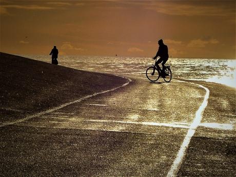 fietsers in decemberlicht