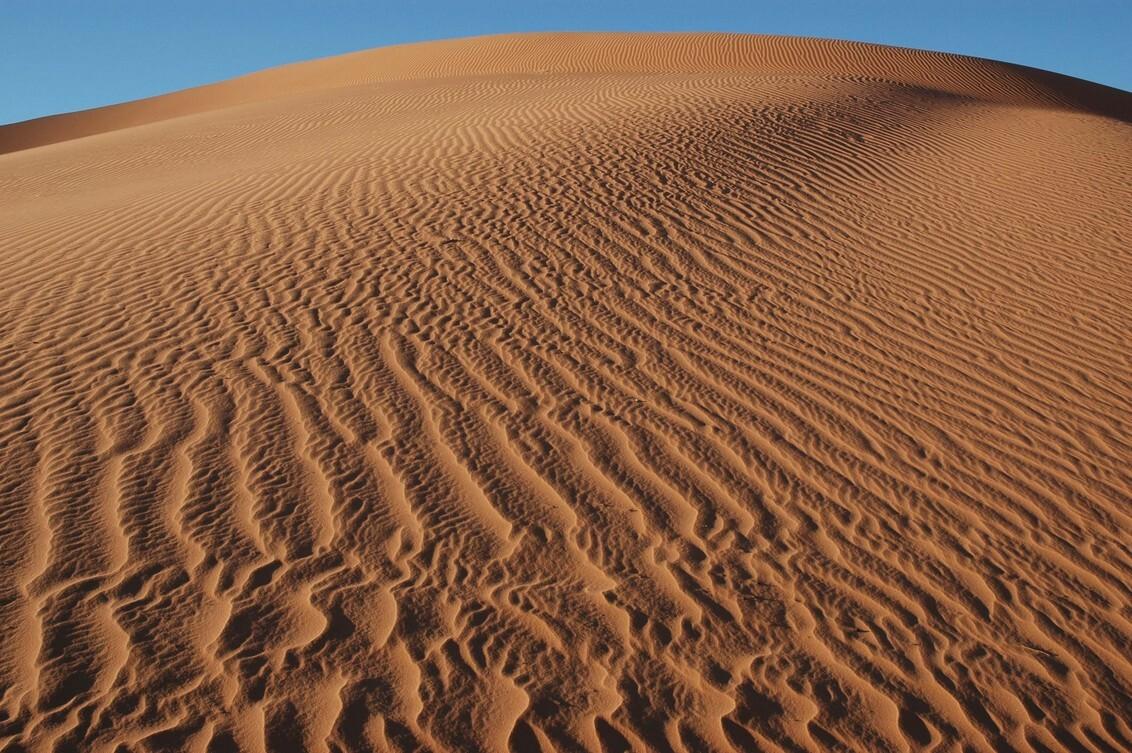 Libië - Overnachting de woestijn levert zo'n plaatje op. Een nog door medereizigers onbelopen stuk. - foto door wimgoesting op 12-03-2015 - deze foto bevat: duinen