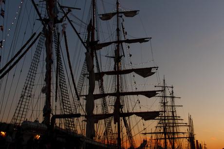 Sail: de avond kleurt mooi en de lichten maken het feestelijk