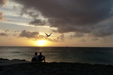 zonsondergang - weer een dag ( en pelikaan) voorbij gevlogen - foto door Krea10 op 14-04-2021 - locatie: Aruba - deze foto bevat: wolk, lucht, water, atmosfeer, vogel, nagloeien, schemer, zonsopkomst, zonsondergang, horizon