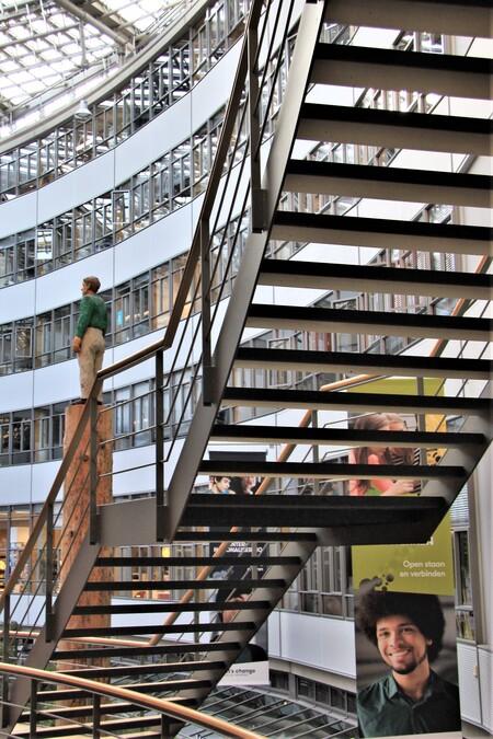 Student Op het Hout  - Haagse Hoogeschool  Gtjs.AJ62  - foto door AJ62 op 12-04-2021 - locatie: Den Haag, Nederland - deze foto bevat: gebouw, architectuur, interieur ontwerp, torenblok, condominium, lijn, hout, stedelijk ontwerp, plank, trap
