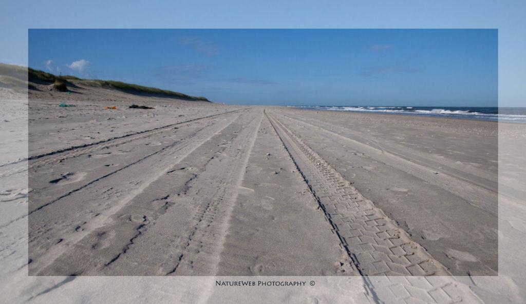Over het strand ... - Auto's van Rijkswaterstaat rijden dagelijks over het Texelse strand, zo ook politie en soms een particulier met een terreinwagen.  De bandensporen z - foto door keeseos op 19-08-2009 - deze foto bevat: strand, zee, texel, zand, duin, 4wd, bandensporen, keeseos