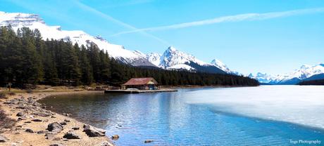 2 foto pano Lake Maligne Jasper Nat. Park