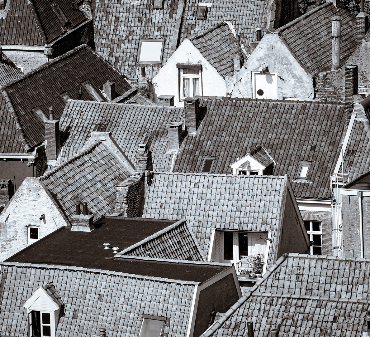 Bovenaanzicht - Zwart/wit weergave van daken in een middeleeuwse stad vanaf de kerktoren. - foto door viterson op 11-04-2021 - locatie: Zutphen, Nederland - deze foto bevat: eigendom, dag, wit, gebouw, zwart, venster, wereld, huis, stedelijk ontwerp, hout